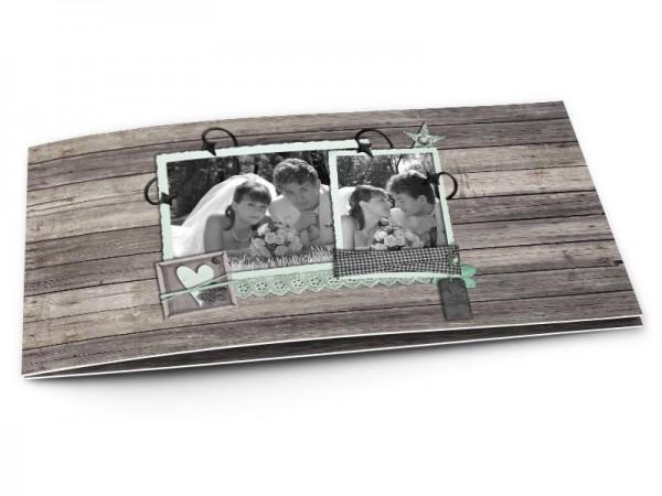 Remerciements mariage - Bois gris et dentelle turquoise