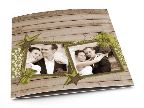 Remerciements mariage - Étoiles bicolores sur fond en bois