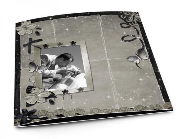 Remerciements mariage - Les étoiles – papillons gris et ruban noir