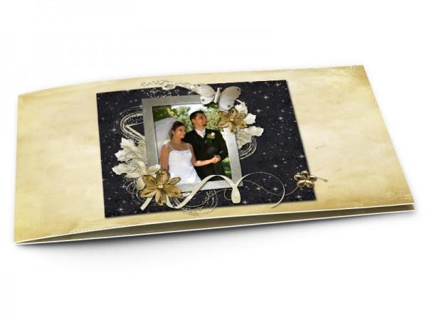 Remerciements mariage - Les étoiles – fleur dorée et ruban blanc