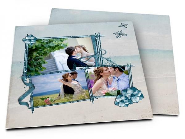 Remerciements mariage - Les îles – fleurs bleues et sable fin