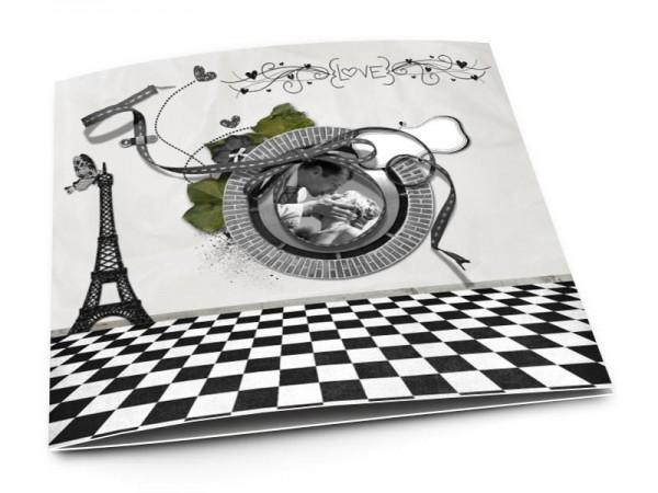 Remerciements mariage - Paris – damier et tour Eiffel