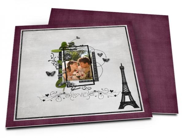 Remerciements mariage - Paris – papillons pourpres et tour Eiffel
