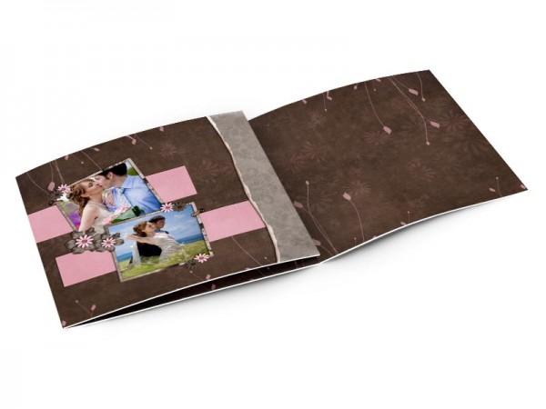 Remerciements mariage - Rose et chocolat – deux bandes roses sur fond chocolat
