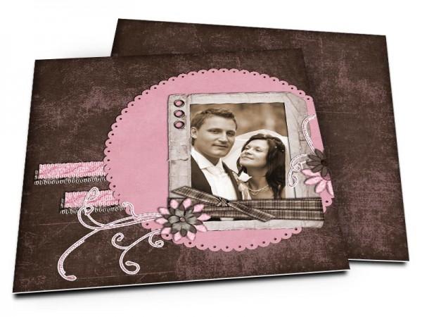Remerciements mariage - Rose et chocolat – fleurs et fines coutures