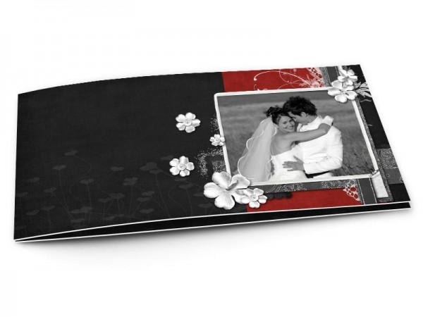 Remerciements mariage - Rouge et noir – fleurs blanches et dentelle