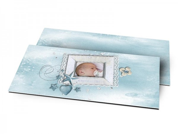 Remerciements naissance - Dentelle et étoile bleue