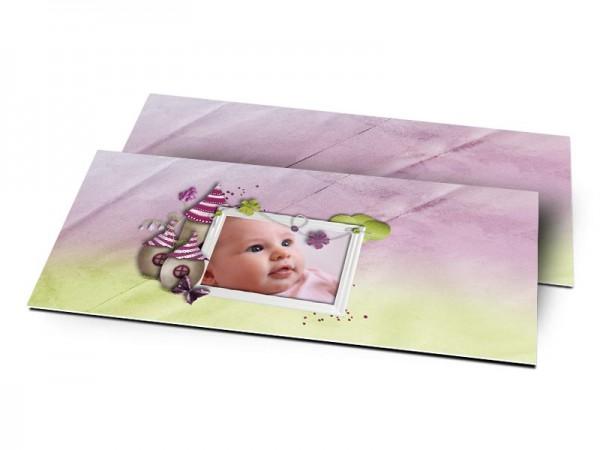 Remerciements naissance - Maison de lutin bicolore violet et vert
