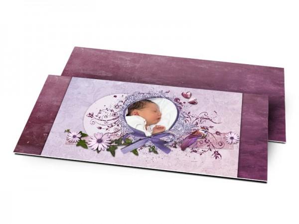 Remerciements naissance - Photo entourée d'un ruban violet