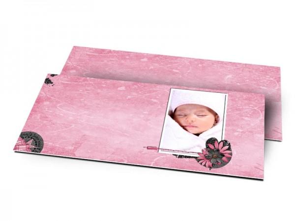 Remerciements naissance - Coeurs noirs sur fond rose