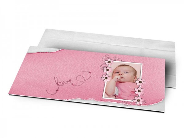 Remerciements naissance - Love rose et gris