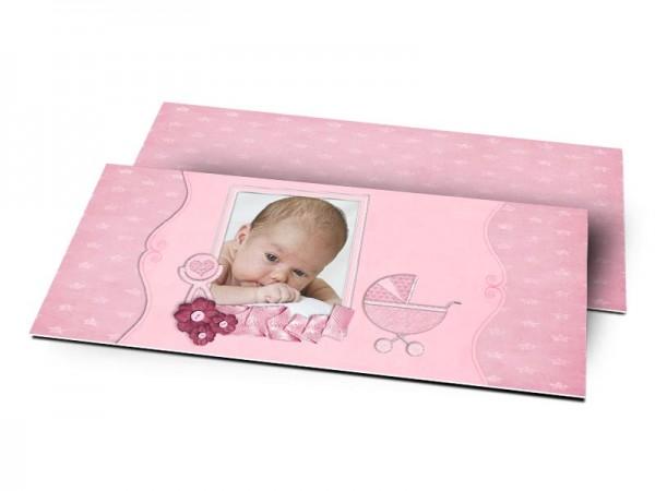 Remerciements naissance - Landau rose
