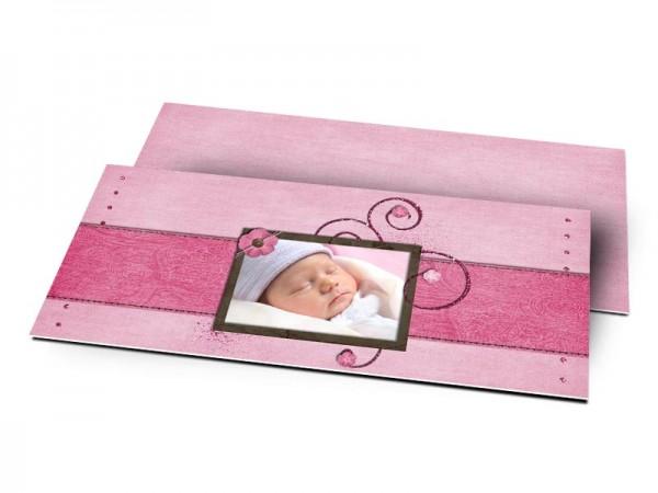 Remerciements naissance - Ornements à paillettes sur fond rose