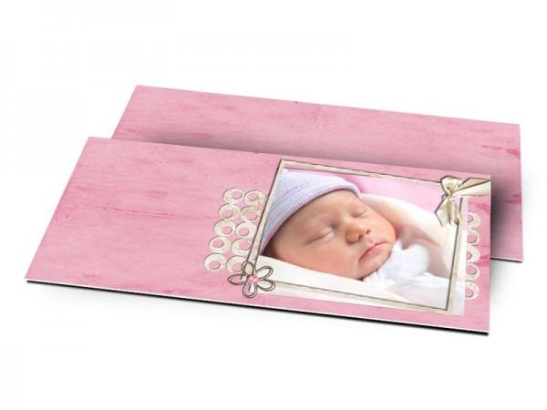 Remerciements naissance - Frise de formes rondes posée sur fond rose