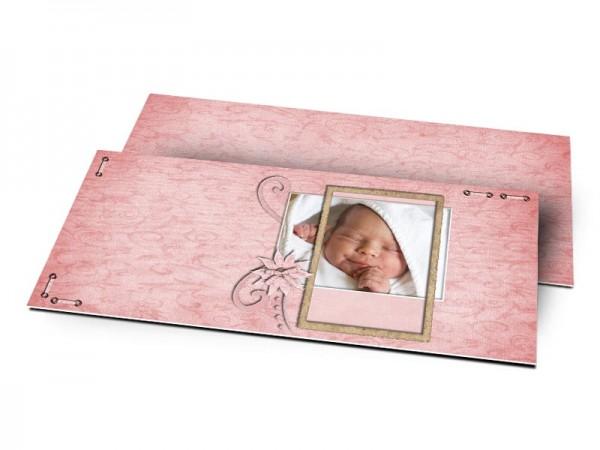 Remerciements naissance - Fleur rose et ornements