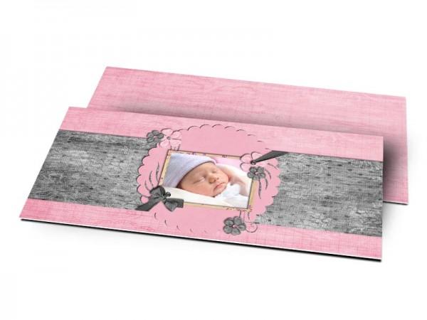 Remerciements naissance - Coeur rose pailleté