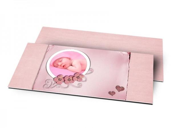 Remerciements naissance - Noir et rose à paillettes