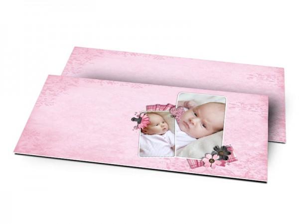 Remerciements naissance - Fine dentelle et tissu rayé