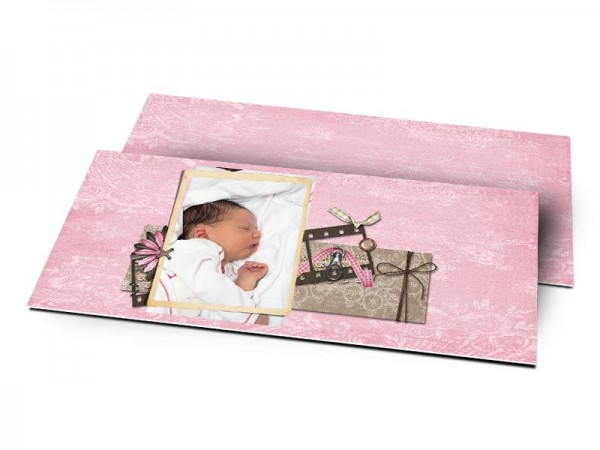 Remerciements naissance - Carnet rose