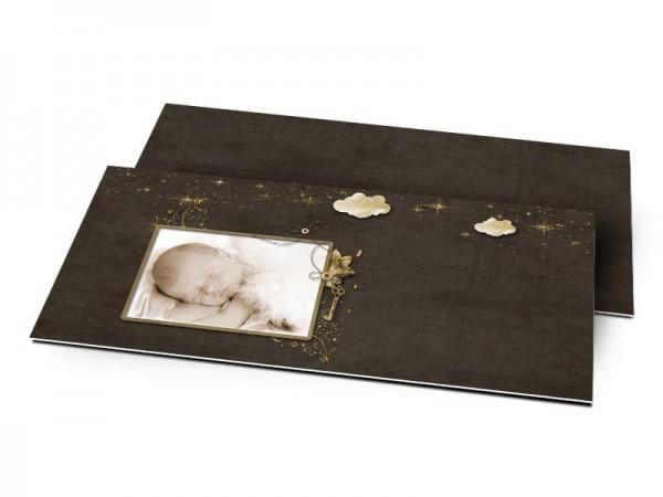 Remerciements naissance - Nuages d'or