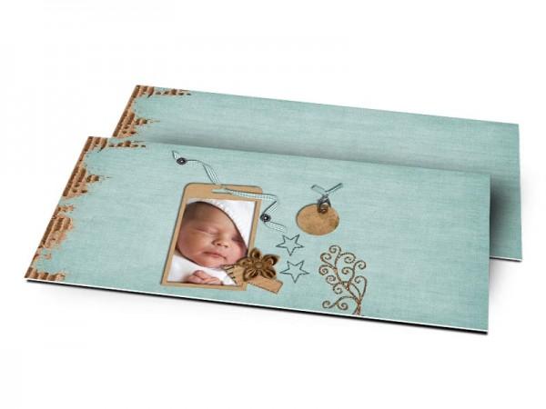Remerciements naissance - Médaillon marron et fond bleu