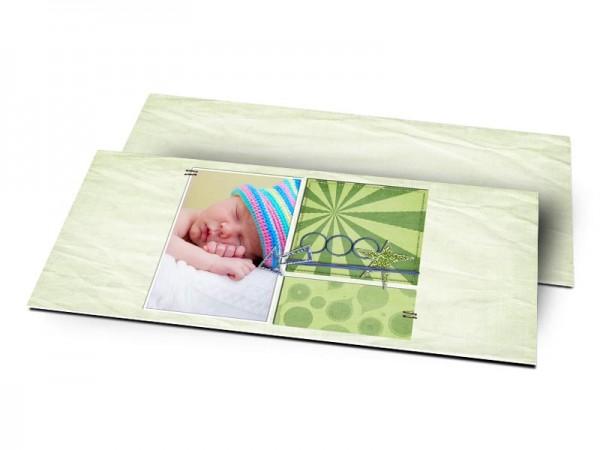 Remerciements naissance - Font vert, effet papier froissé