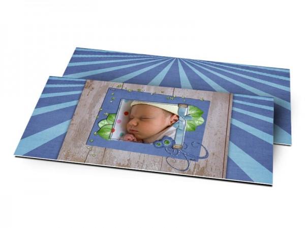 Remerciements naissance - Bois et rayures bleues