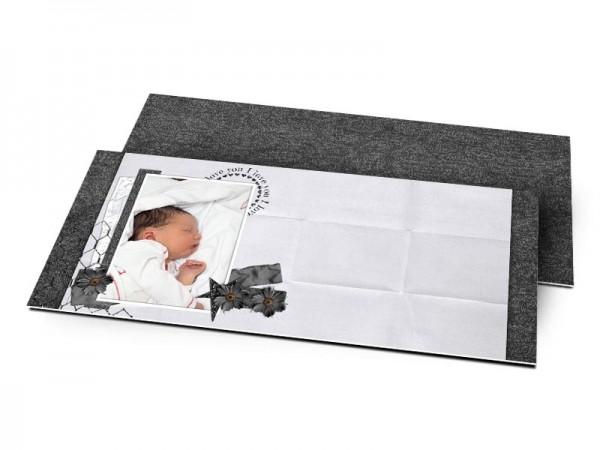 Remerciements naissance - Noir et blanc, effet papier plié