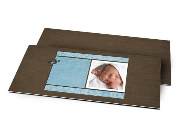 Remerciements naissance - Sobre bleu et chocolat