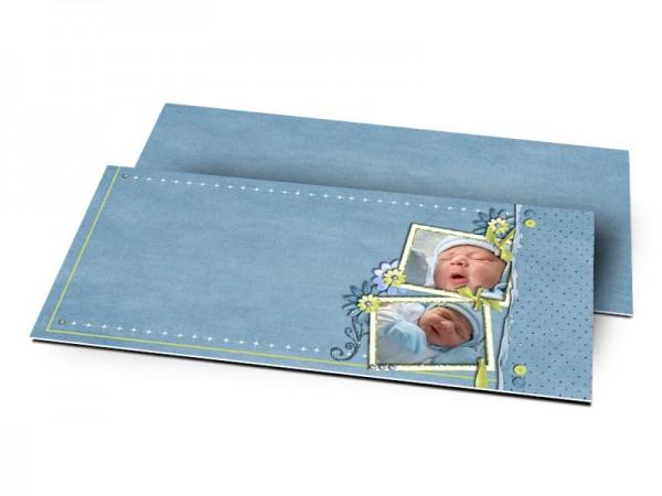 Remerciements naissance - Fond bleu et ruban vert