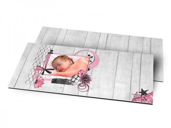 Remerciements naissance - Bois gris et ruban rose