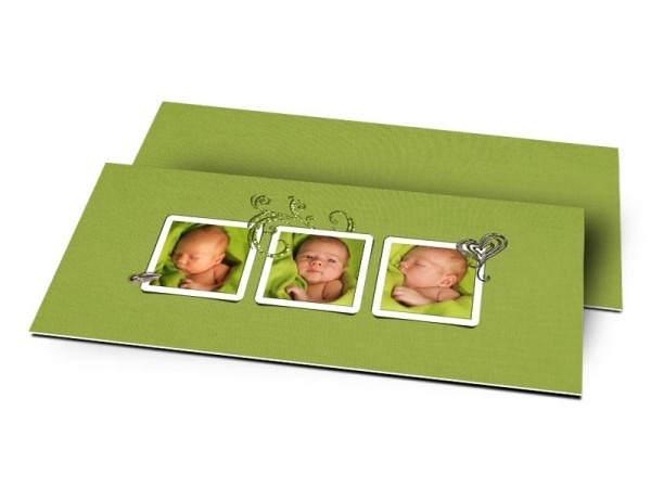 Remerciements naissance - Triptyque vert