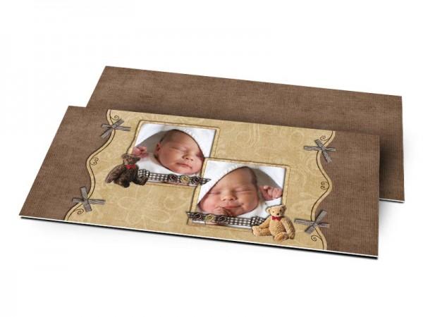 Remerciements naissance - Deux photos, deux nounours