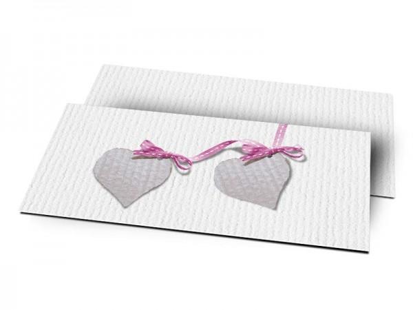 Remerciements naissance - Deux coeurs liés par un ruban rose