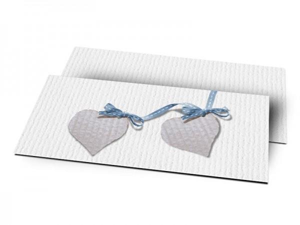 Remerciements naissance - Deux coeurs liés par un ruban bleu
