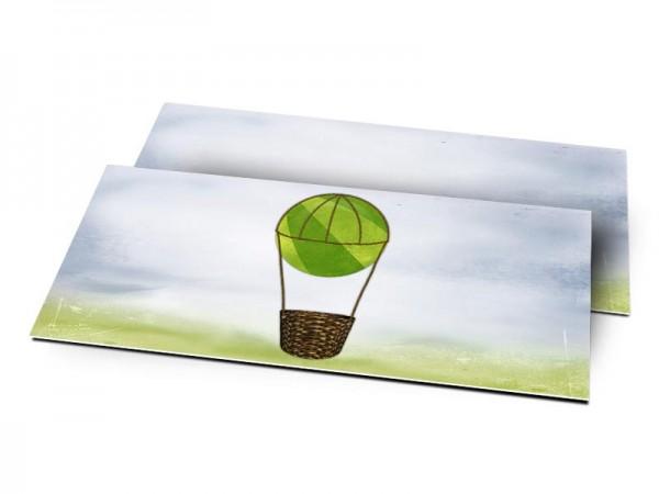 Remerciements naissance - La montgolfière verte