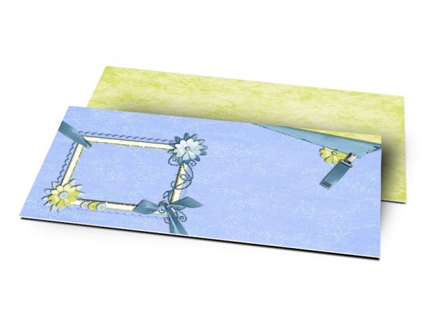 Remerciements naissance - Pince bleue, fleur verte