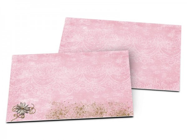 Carton d'invitation mariage - Fleurs blanches sur fond rose