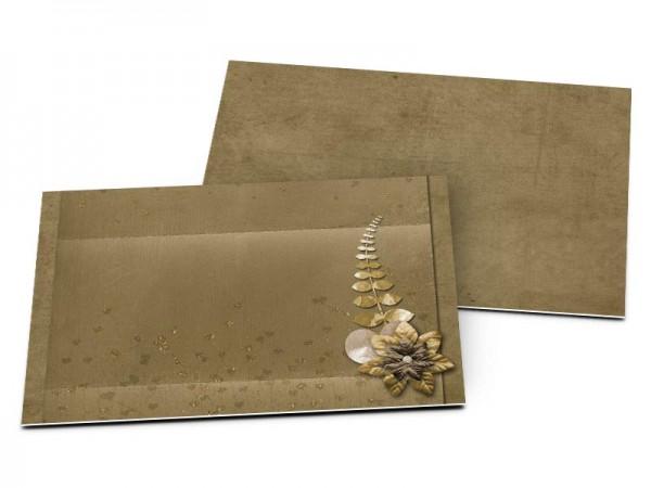 Carton d'invitation mariage - Or et café