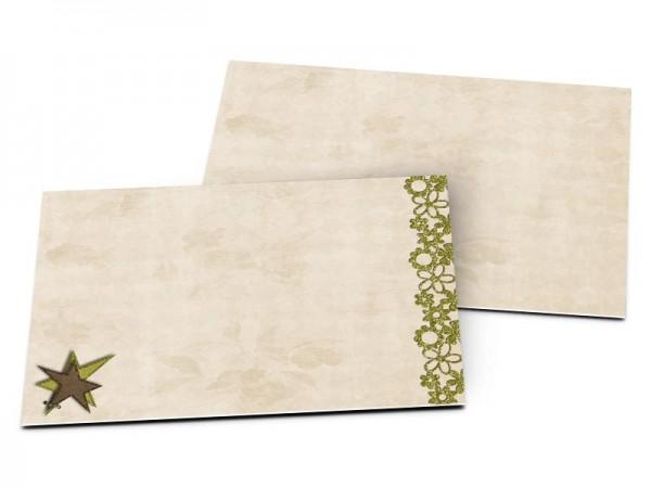 Carton d'invitation mariage - Dentelle et étoile