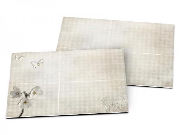 Carton d'invitation mariage - Fleurs blanches et papillons