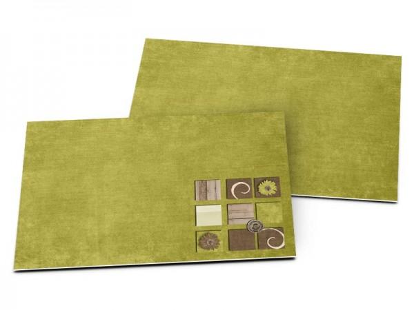 Carton d'invitation mariage - Vert et bois