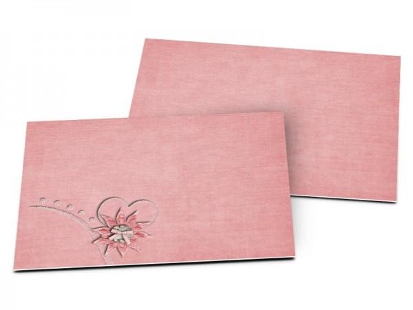 Carton d'invitation mariage - Coeur rose et fleur chocolat