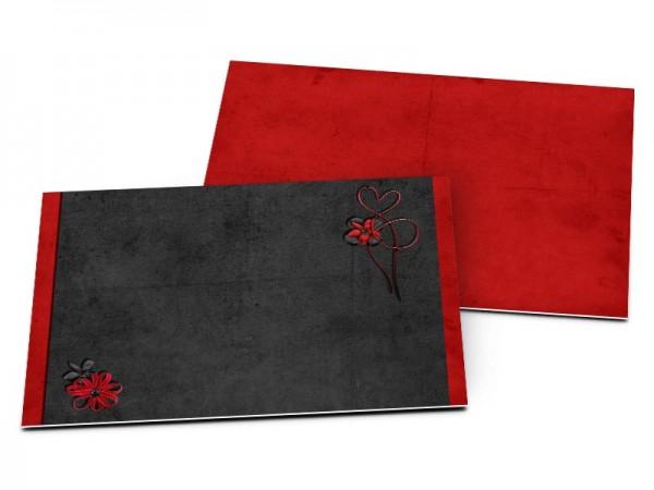 Carton d'invitation mariage - Fond rouge et cadre noir