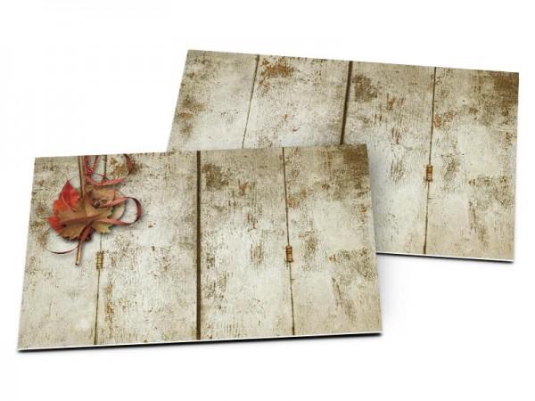Carton d'invitation mariage - Feuilles d'automne sur bois