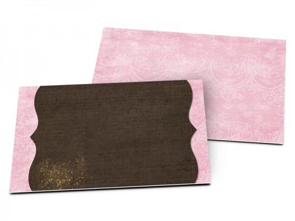 Carton d'invitation mariage - Fleur rose, or et chocolat