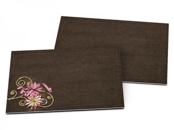 Carton d'invitation mariage - Fine dentelle sur fond chocolat