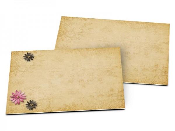 Carton d'invitation mariage - Fleurs roses et ivoires