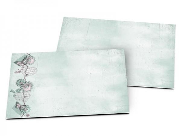 Carton d'invitation mariage - Papillons roses sur fond bleu