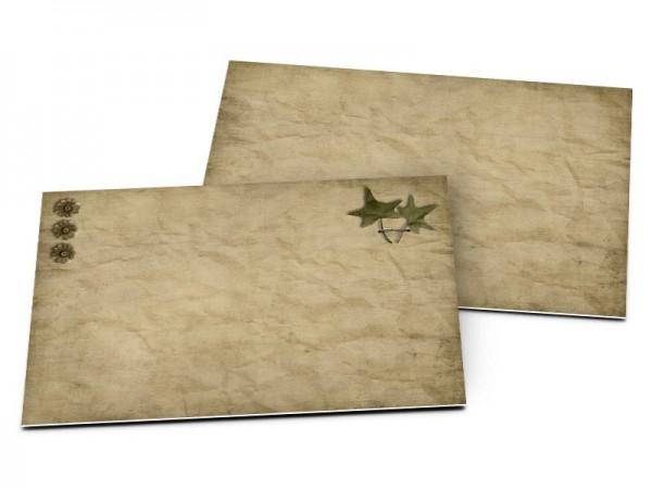 Carton d'invitation mariage - Étoiles vertes sur fond marron